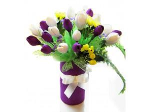 Букет из конфет с тюльпанами №421