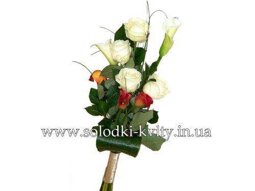 Букет с розами и каллами №154