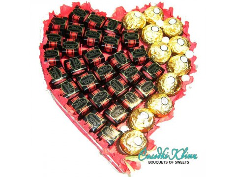 "Bouquet of chocolates ""Heart» № 522"