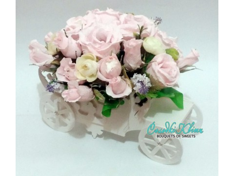 The carriage with pink roses