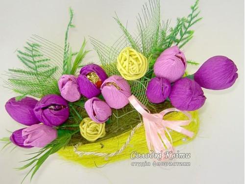 Сизалевая корзинка с цветами из конфет