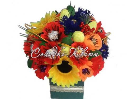 Букет полевых цветов из конфет