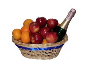Корзина фруктов с шампанским №004