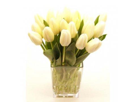 Букет белоснежных тюльпанов №395
