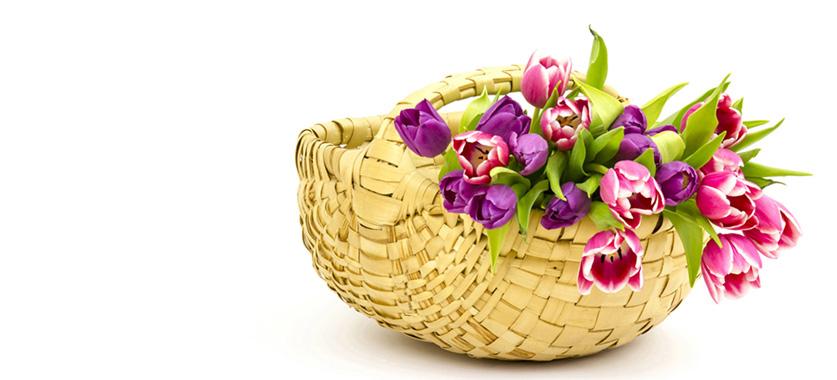 Свежие цветы в корзине для поздравлений и улыбок ваших близких
